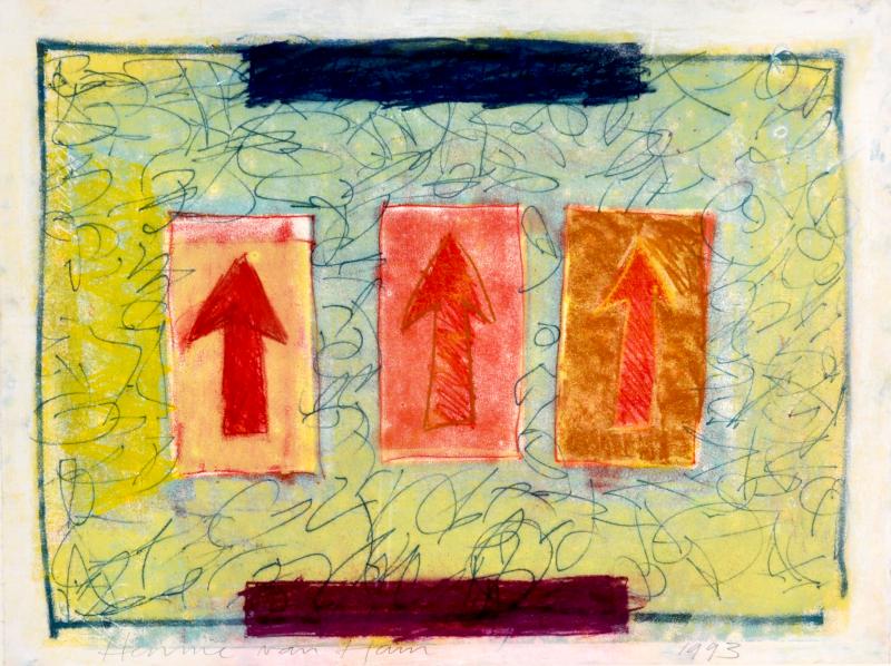 Henny van Ham 1993 - monotype - drie pijlen omhoog